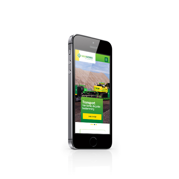 Van Schie websitedesign op een iPhone