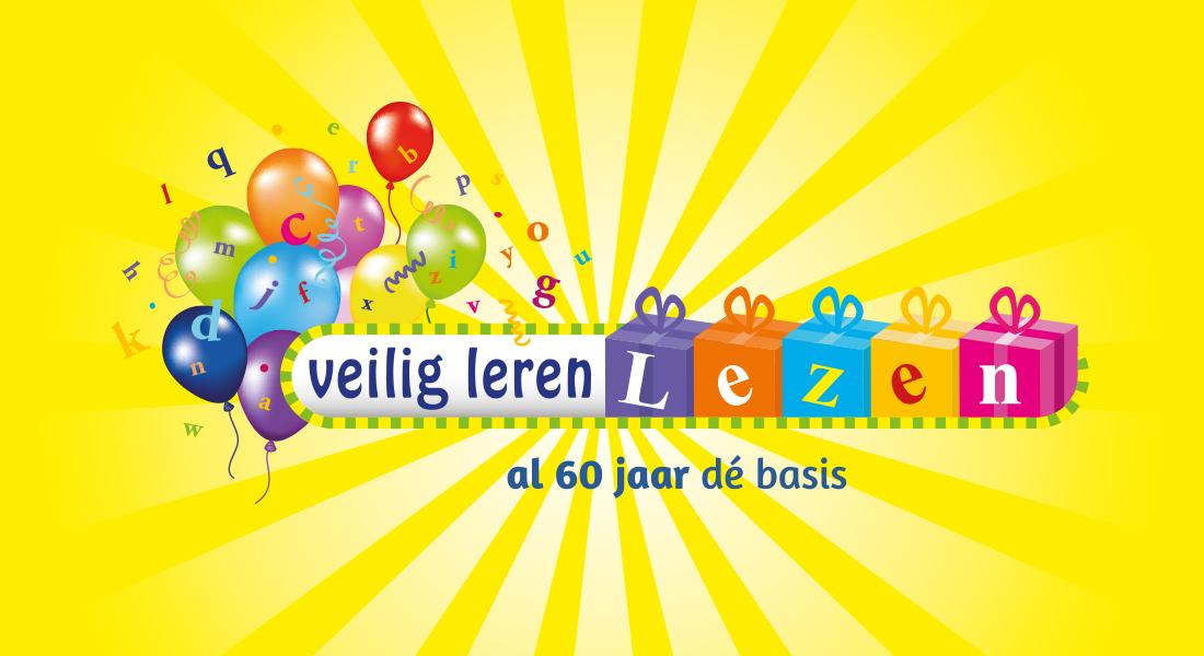 Logo voor de verjaardag van Veilig leren lezen van Zwijssen op gele achtergrond