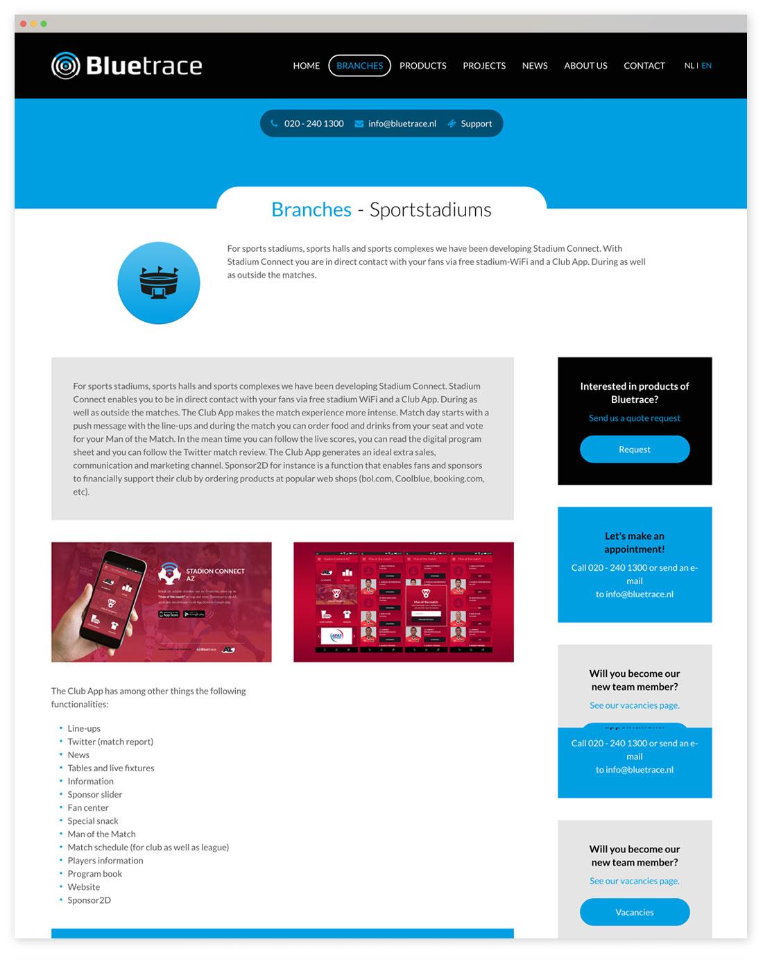 Bluetrace websiteontwerp