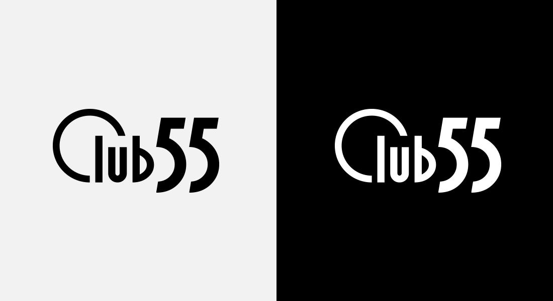 Club 55 logo naast elkaar