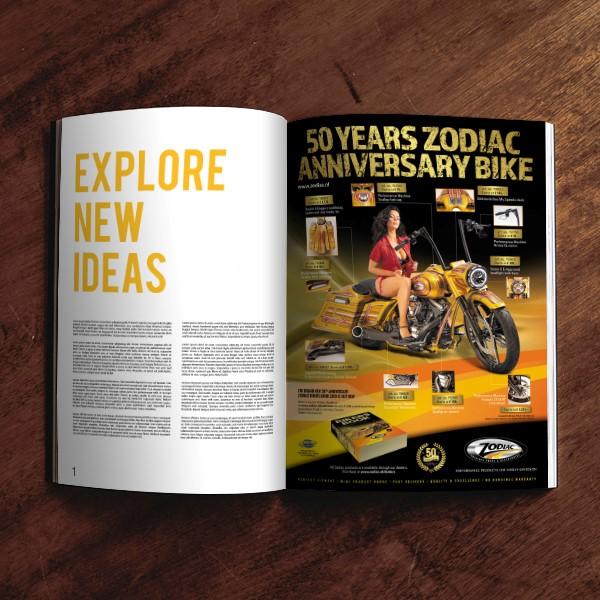 Opengeslagen magazine met advertentie van Zodiac, die zijn 50jarig jubileum viert met een gouden motor