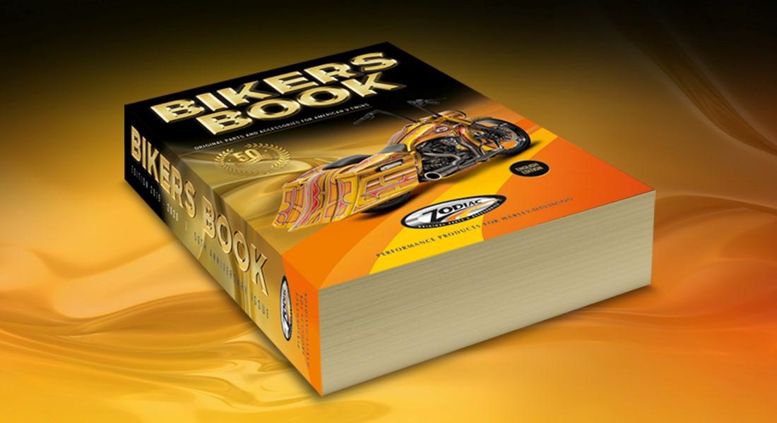 Dikke Bikersbook voor Zodiac met motor en gouden afwerking