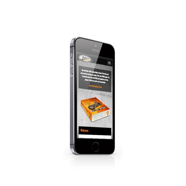 Responsive webdesign voor Zodiac in scherm van een smartphone