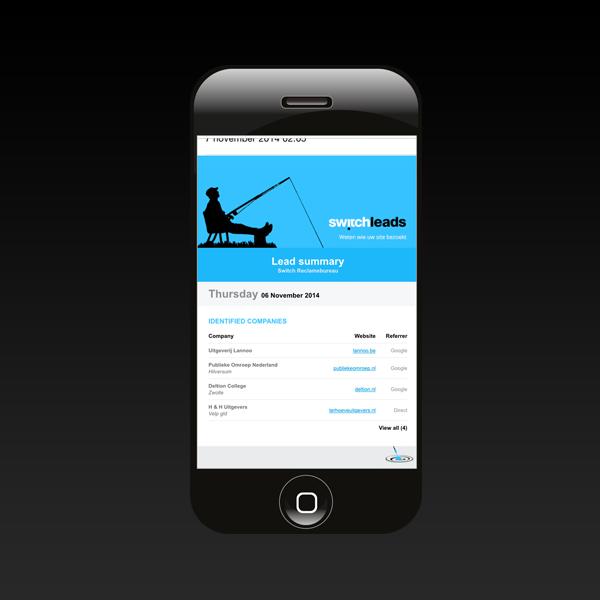 SwitchLeads op mobiel scherm