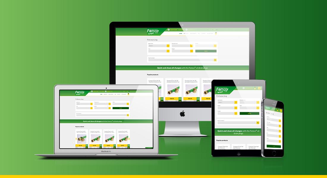 Ontwerp voor de website van Femco in verschillende schermen