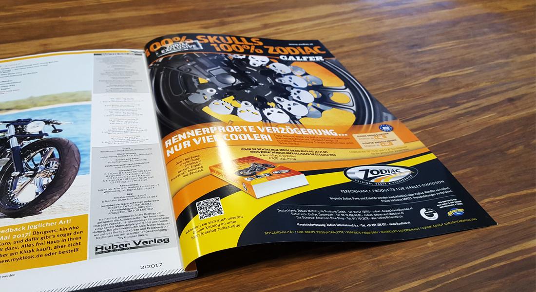 Advertentie voor Zodiac aan de binnenkant van omslag magazine