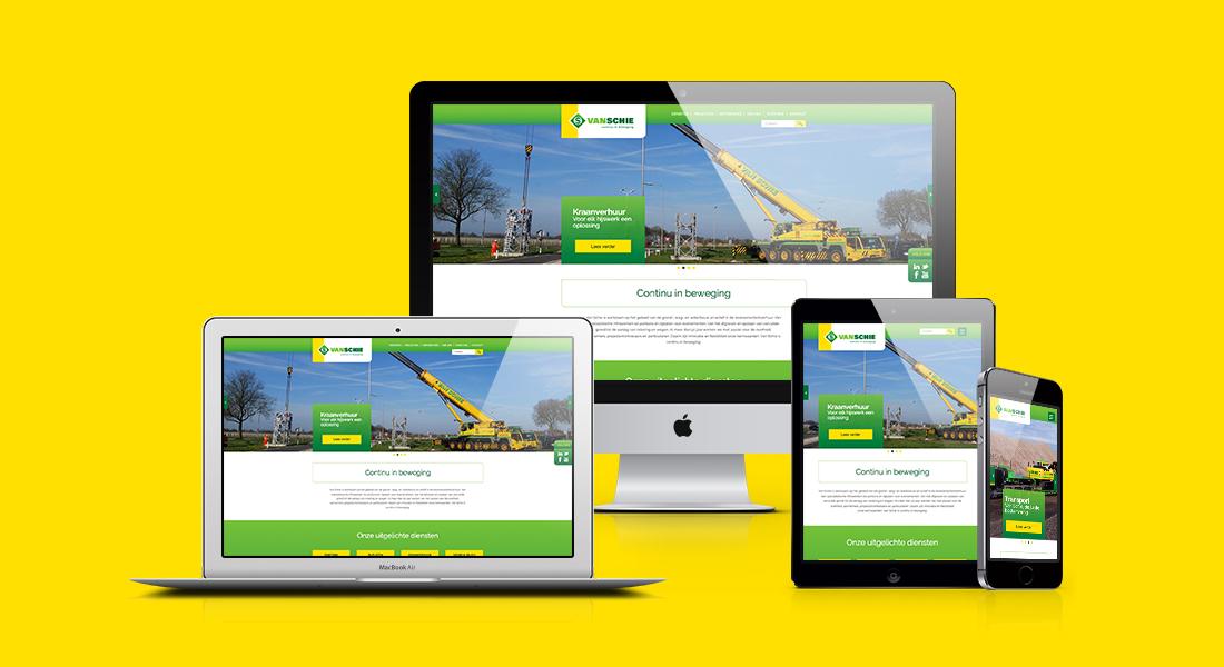 Van Schie website ontwerp op een desktop, laptop, tablet en smartphone