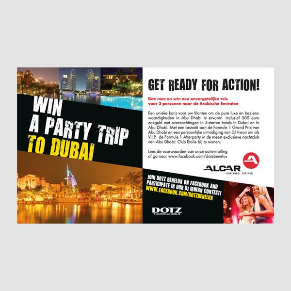 Ontwerp van het artwork voor de Dubai actie van Alcar