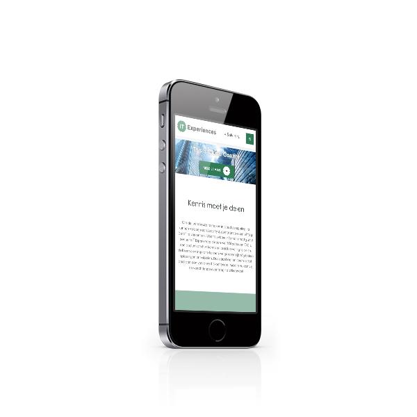 Landingspagina Solvinity IT Experiences op iPhone