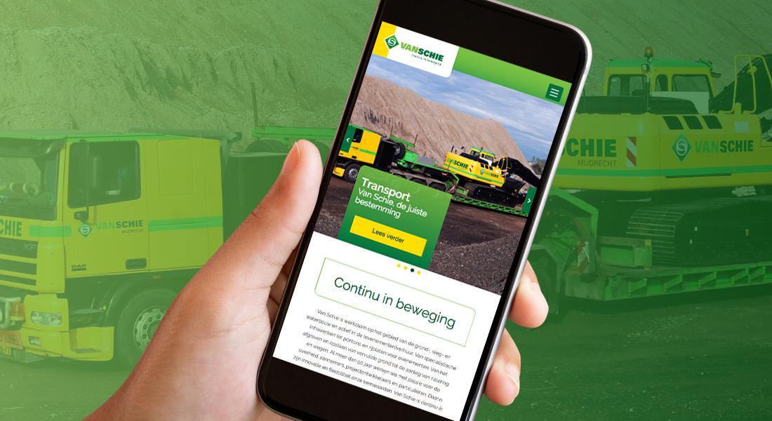 Responsive Van Schie website op smartphone