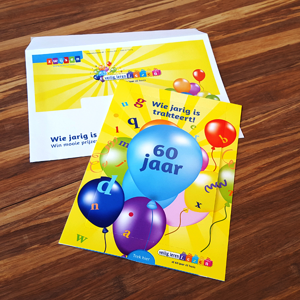 Een kaart om het 60 jarig bestaand van de methode Veilig leren lezen van Zwijssen te vieren