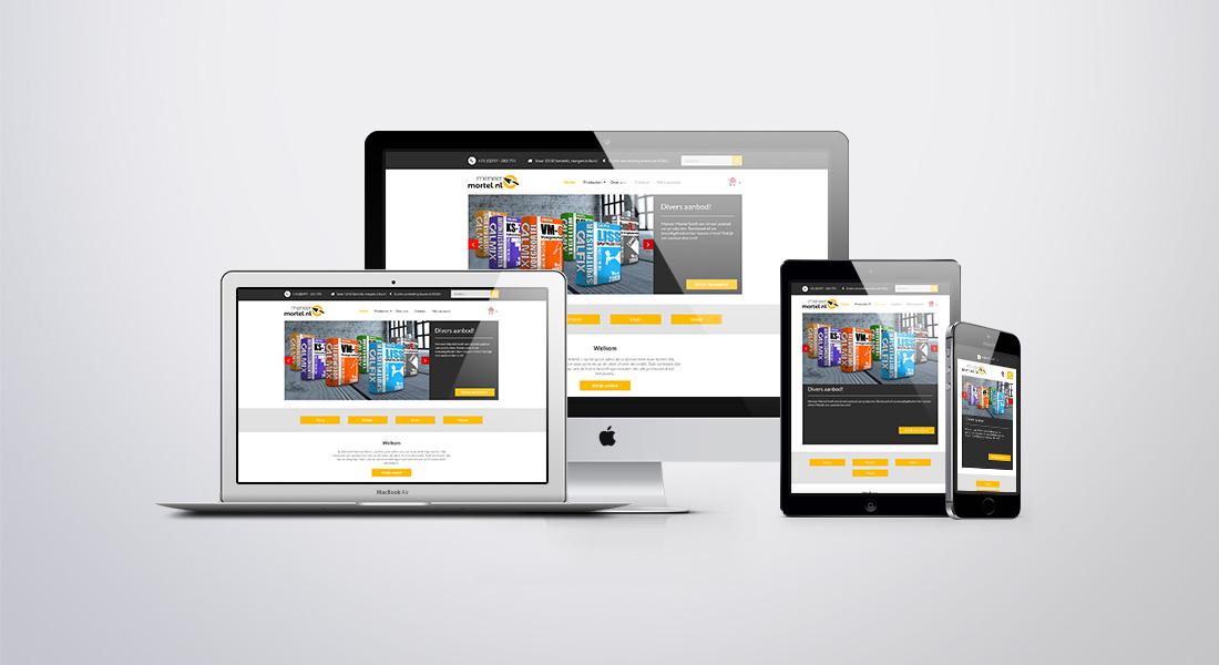Webdesign voor Meneer Mortel op diverse apparaten getoond