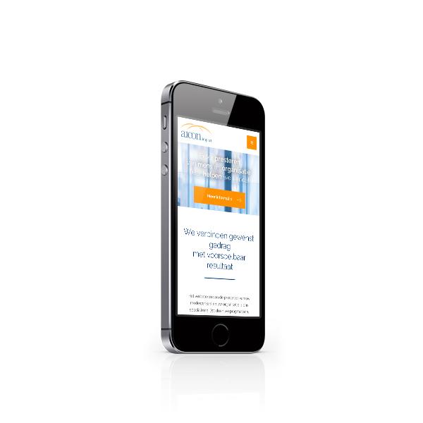 Responsive webdesign van Aicon in iPhone