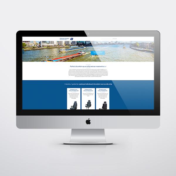 Speciale landingspagina in computerscherm voor de scheepvaart
