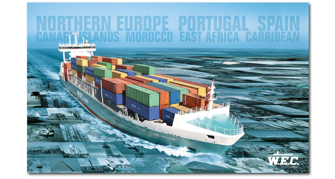 Een WEC Lines containerschip vaart door een zee van beelden heen