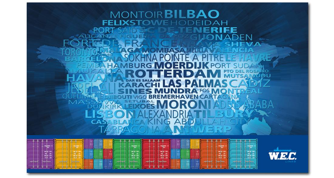 Kalender voor WEC Lines met alle aanlegplaatsen in tekst erop