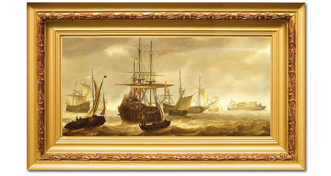 Ouderwets schilderij voor WEC lines met containerschip