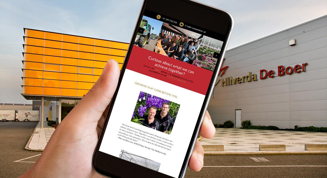 Het ontwerp voor de Hilverda website in een smartphone
