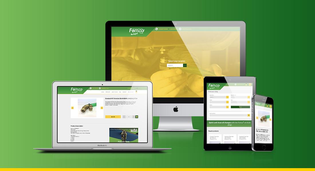 Website voor Femco op laptop, desktop, tablet en smartphone