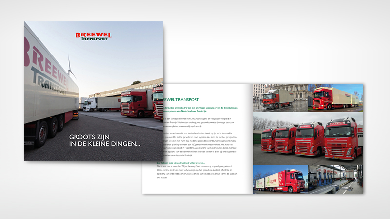 Vierkante folder van Breewel Transport