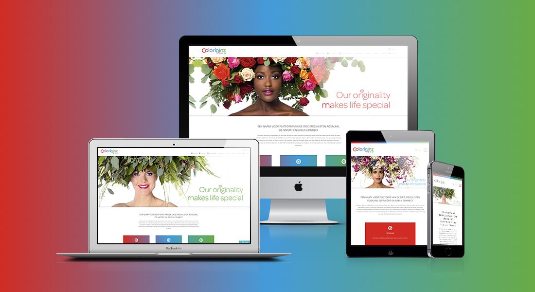 Het webdesign voor Coloriginz in verschillende devices
