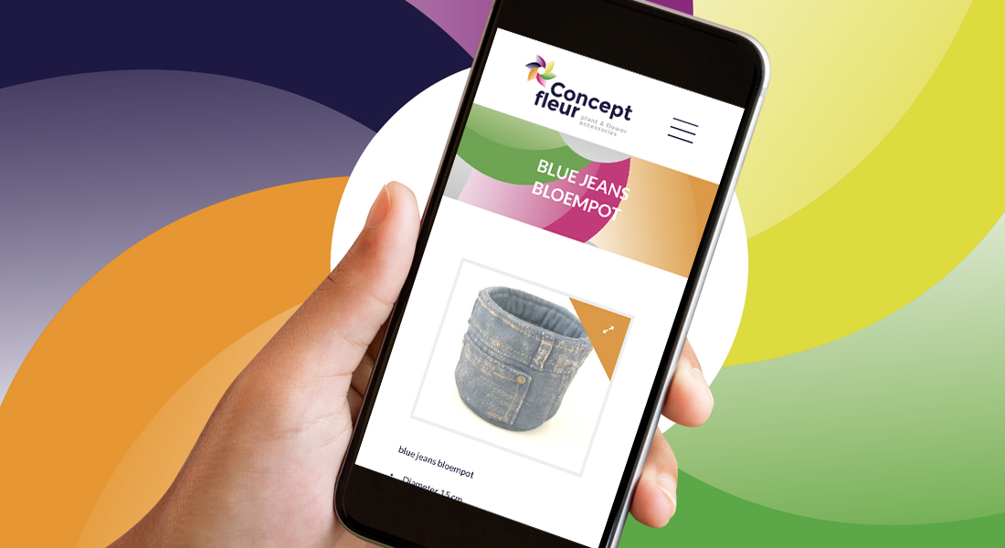 Ontwerp voor de website van ConceptFleur in een smartphone