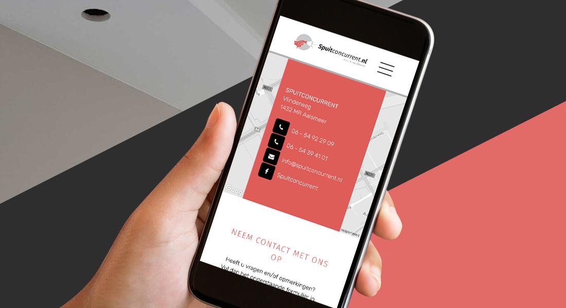 Het webdesign van de Spuitconcurrent in een smartphone