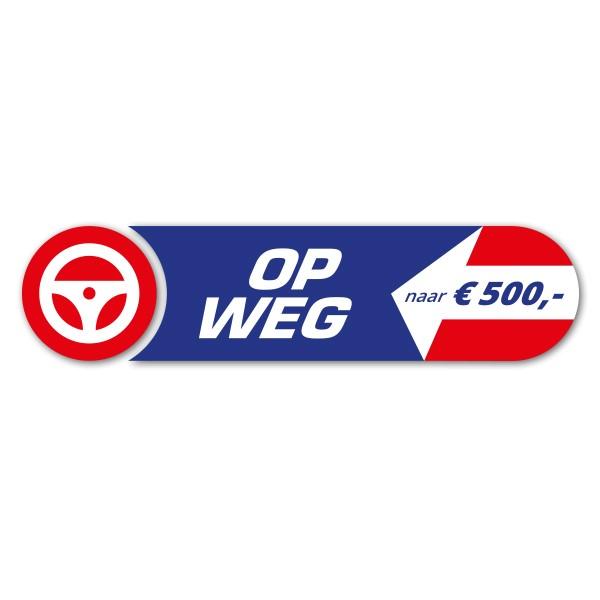 Rood, wit en blauw campagnelogo 'op weg naar 500 euro' met vrachtwagenstuur