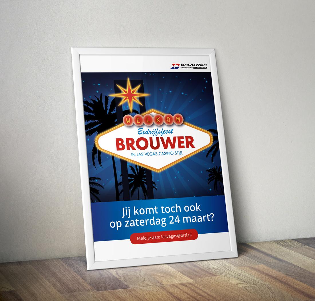 Poster voor het bedrijfsfeest in Las Vegas stijl van Brouwer Transport
