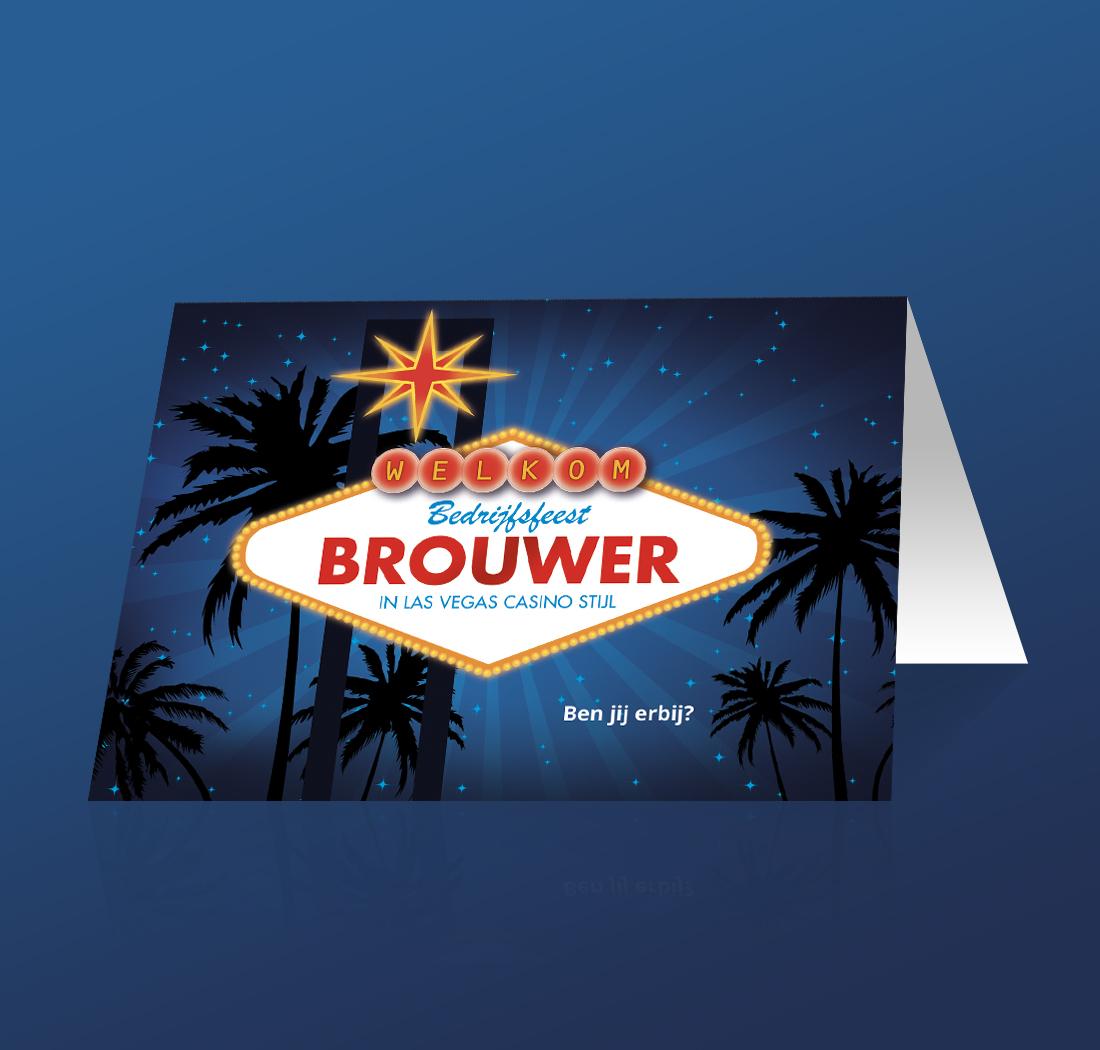 Uitnodiging voor het Brouwer bedrijfsfeest in Las Vegas stijl