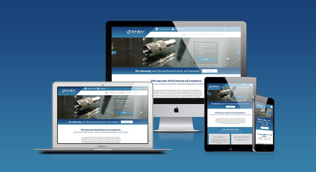 Website voor Enev getoond op diverse devices