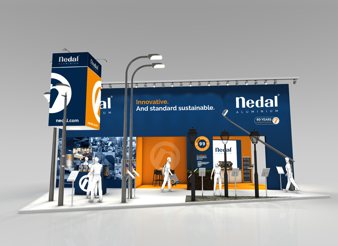 3D visualisatie van de beursstand van Nedal