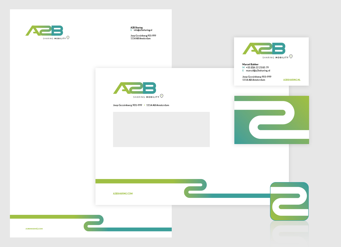 Briefpapier, visitekaartje en envelop ontwerp voor A2B Sharing