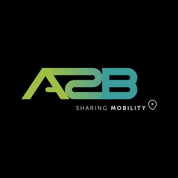 A2B Sharing logo op zwarte achtergrond