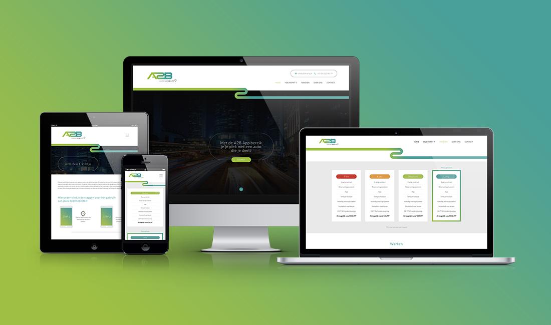 De website van A2B sharing op diversen apparaten
