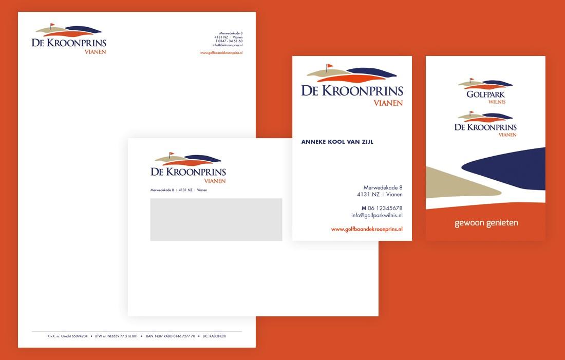 Briefpapier, envelop en visitekaartje voor Golfpark Wilnis als onderdeel van de huisstijl