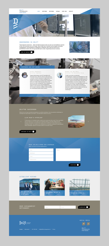 Ontwerp homepagina Delft Technology Partners