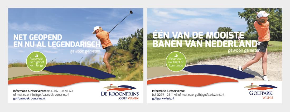 Advertenties voor Golfpark Wilnis en Kroonprins Vianen