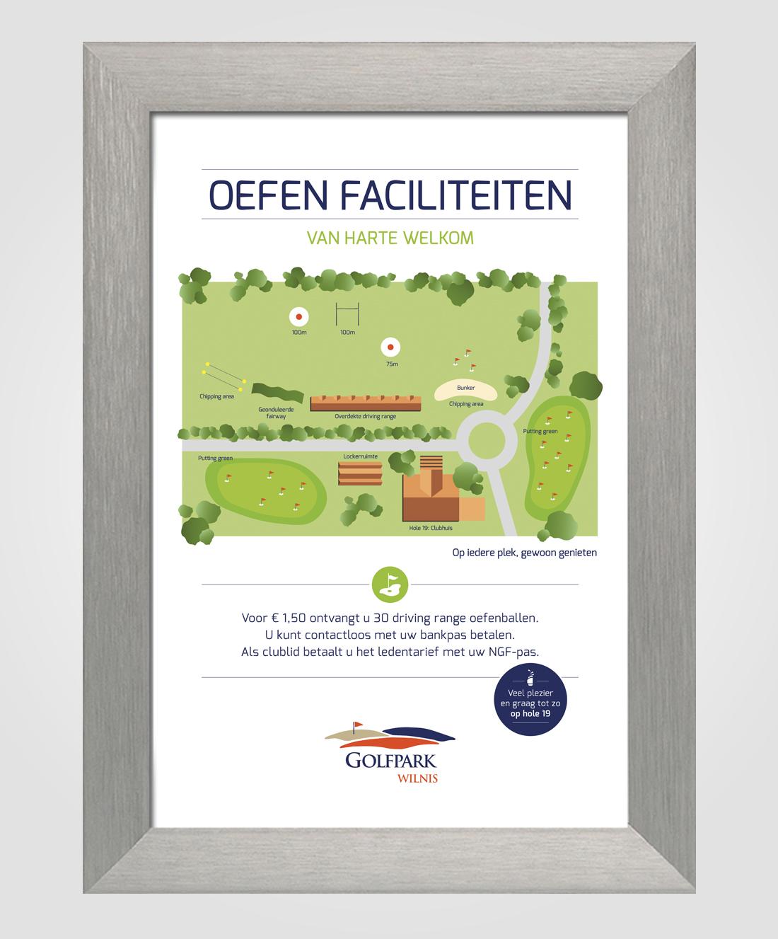 Bord voor Golfpark Wilnis met een geillustreerde kaart van de oefenfaciliteiten