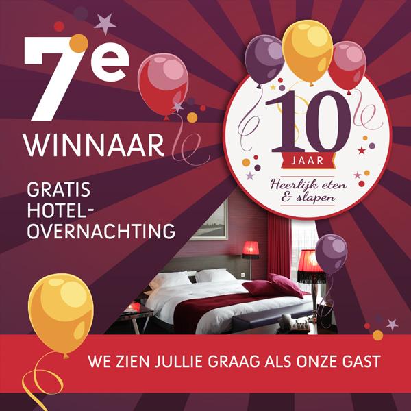 Feestelijke bekendmaking 7e winnaar gratis hotelovernachting Hotel Mijdrecht