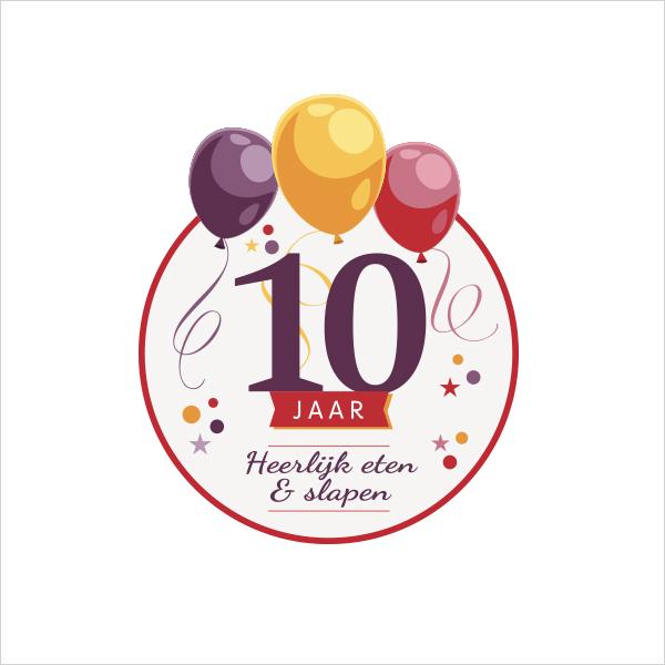 Feestelijk jubileumlogo - Hotel Mijdrecht 10 jaar