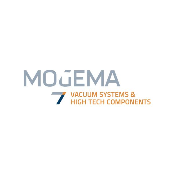 Blauw, grijs, oranje logo van Mogema
