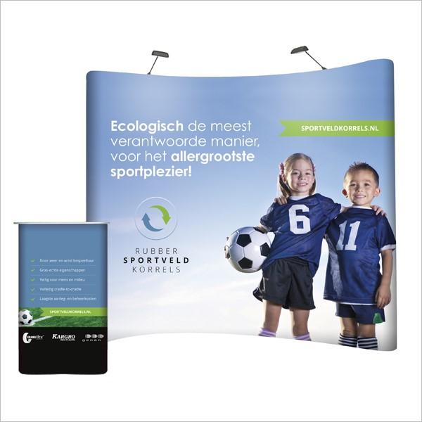 Beursstand voor Sportveldkorrels, een ontwerp voor Granuflex, Kargro en Genan