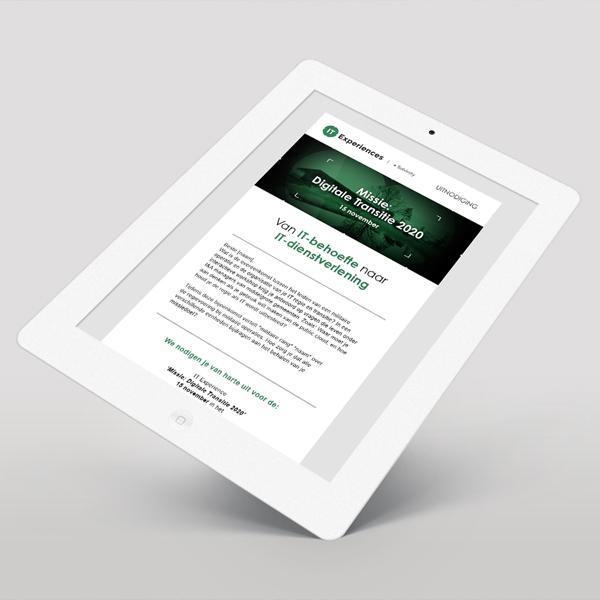Ipad met uitnodiging voor evenement van Solvinity Missie Digitale Transitie
