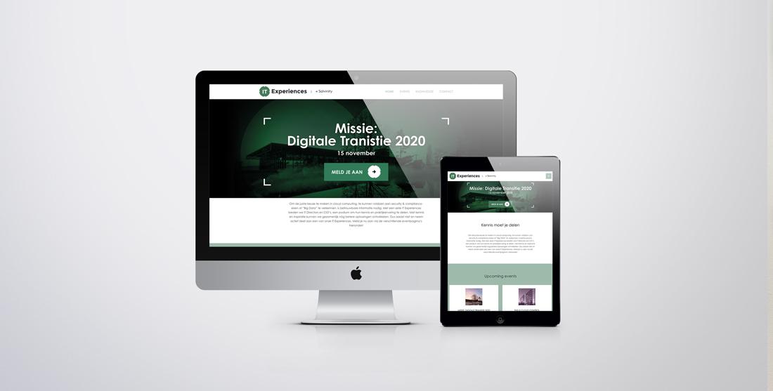 Scherm van een Macbook en Ipad met het ontwerp voor de website pagina rondom het evenement