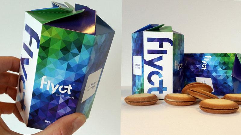 Flikken voor Flyct, in een doosje in de typische Flyct-huisstijl. Dat zijn pas lekkere relatiegeschenken