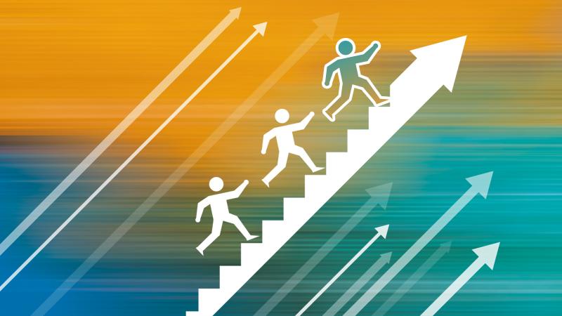 Illustratie pijlen en personen die trap oplopen in pijl