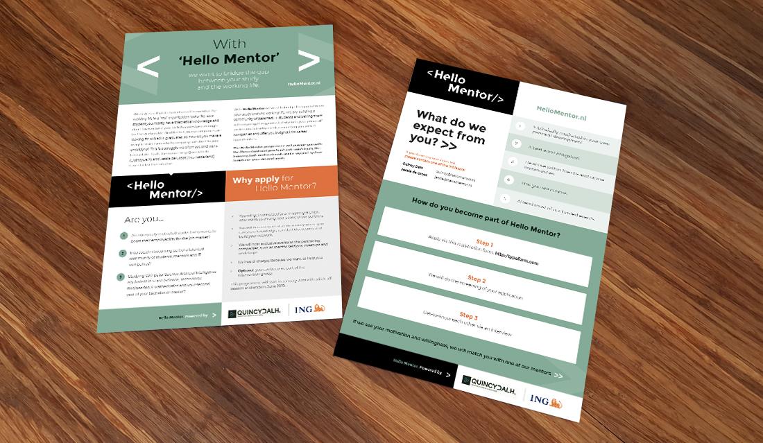 Promotie leaflet voor Hello Mentor, voor- en achterkant
