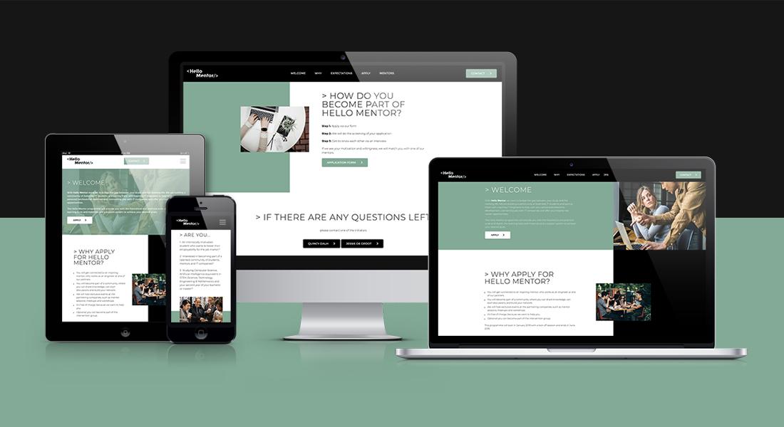Desktop, website, tablet en mobiel ontwerp van de Hello Mentor website