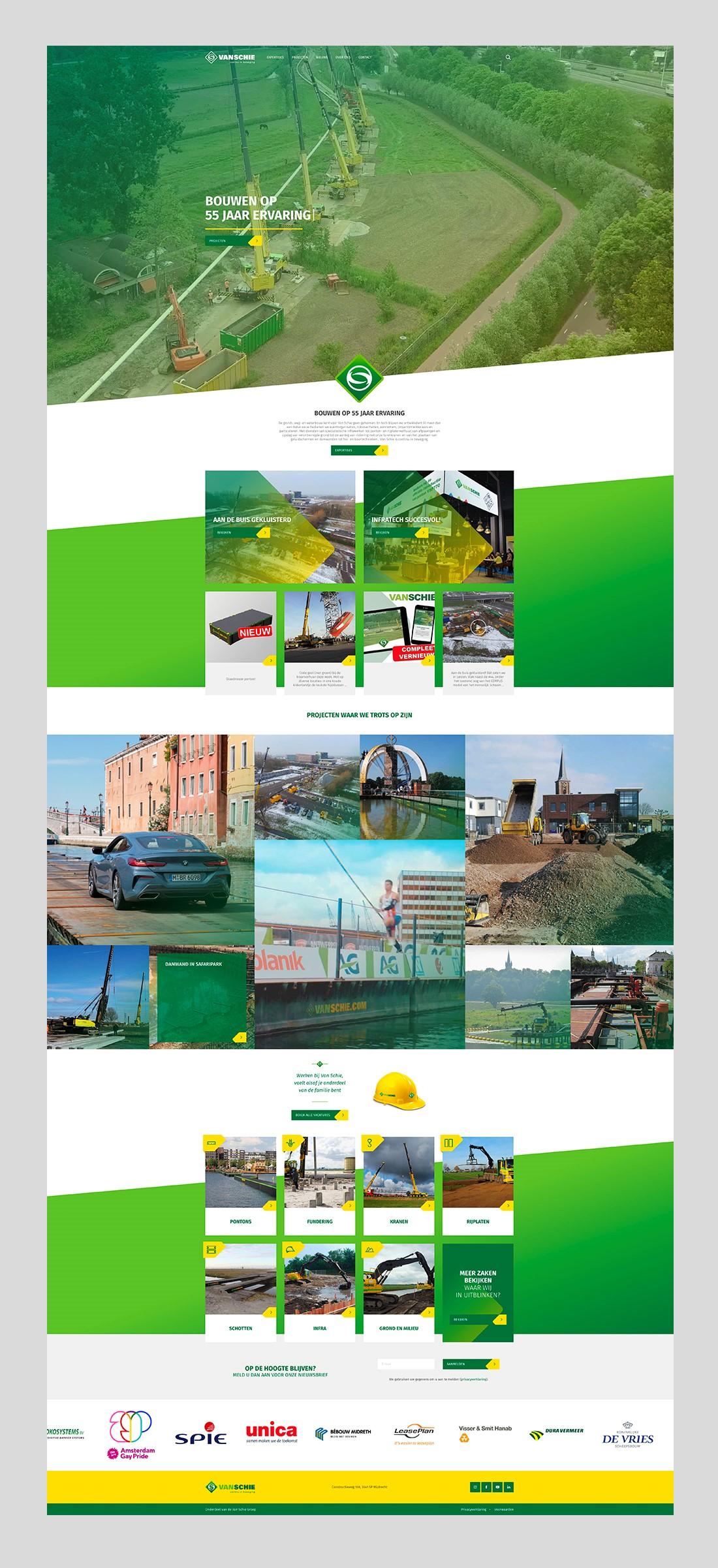 Volledige ontwerp van de homepagina van de Van Schie website